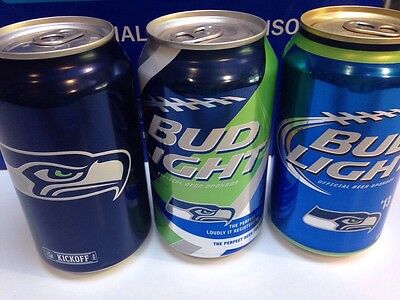 3 Seattle Seahawks Bud Light Cans NFL Limited Edition Kickoff & Super Bowl