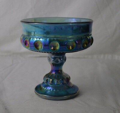 Vintage Indiana Glass Kings Crown Thumbprint Blue Carnival Glass Compote