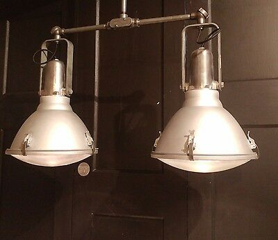 Vtg Industrial Double Pendant Custom Fixture Flood Light Machine Age Kitchen