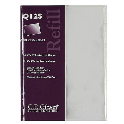 C.R. Gibson Sheet Protector Refills 4 x 6 Clear Recipe Card Sleeves – Q12S