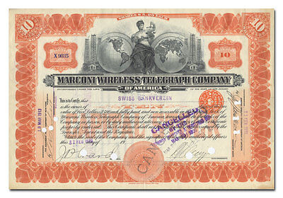 Marconi Wireless Telegraph Company Stock Certificate