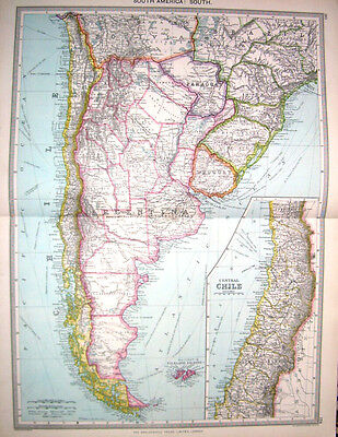 SOUTH AMERICA - ARGENTINA - CHILE - Original 1895 Antique Victorian Map