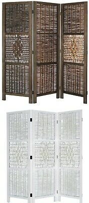 3 Panel Bamboo & Wood Screen Room Divider, Weave Design w/ Diamond Shaped Accent
