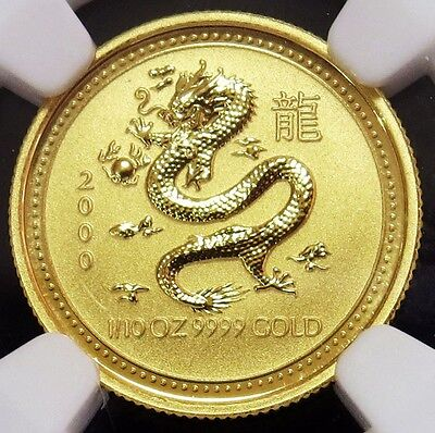 2000 Gold Australia $15 Lunar Year Of The Dragon 1/10 Oz Coin Ngc Mint State 69