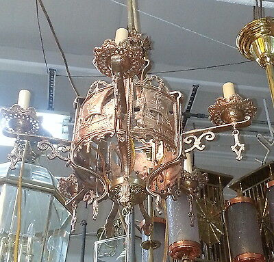 Antique Art Deco Gold Toned Light Fixture Chandelier with Ships and Boat Design