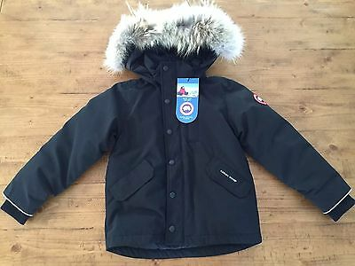 NWT Canada Goose Youth Logan Parka Size XS (6) Black Goose Down Fill