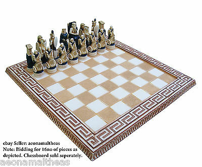 Heracles themed set of 16no chess pawns - BLUE - for 45xm x 45cm chessboards