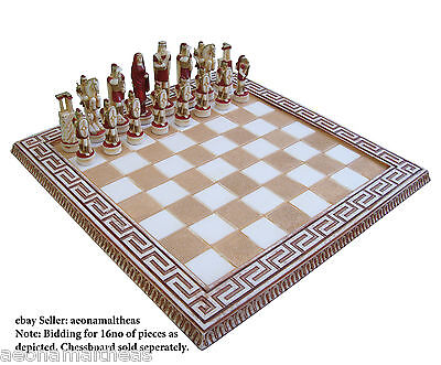 Hellenic themed set of 16no chess pawns - RED - for 45xm x 45cm chessboards