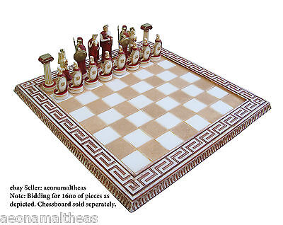 Perseus themed set of 16no chess pawns - RED - for 45xm x 45cm chessboards