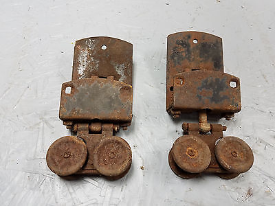 2 Vintage sliding barn/shed door track rollers/hangers, flexible double wheels