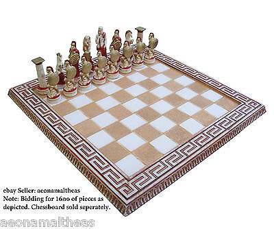 Macedonian themed set of 16no chess pawns - RED - for 45xm x 45cm chessboards