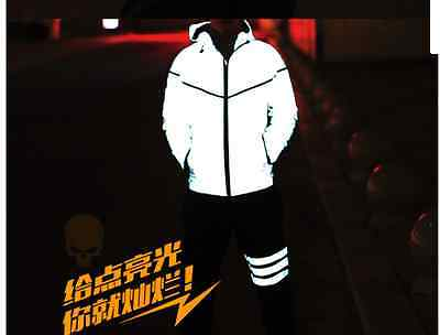 3M Reflective OUTDOOR Cycling Night Running breathable Jacket with hood  large