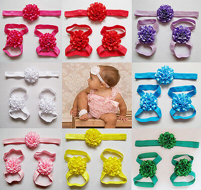 3pc Baby Flower Blooms Foot Head Hair Band Set Infant Barefoot Sandal Photo Prop