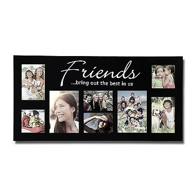 """Adeco 8-Opening Black Wood """"Friends"""" Wall Hanging Collage Picture Photo Frames"""