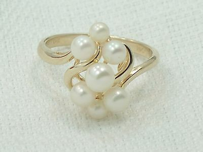 Estate 14K Yellow Gold T & C Town & Country Pearl Cluster Ring