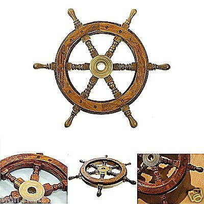 "Vintage Boat Ship Steering Wheel 12"" Brass Wooden Decor Nautical Pirate Antique"