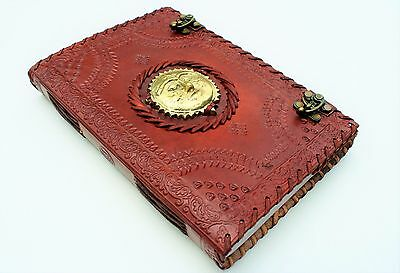Handmade Leather Embossed Metal Sun Travel Journal Diary Notebook Great Gift