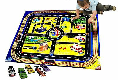 Large Kids Children's Play Mat Race Car Train Track + 5 Play Cars Toy Gift Set
