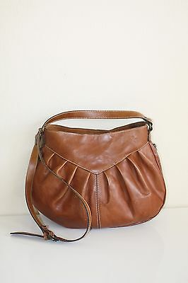 Patricia Nash Heritage Crossbody Tan Brown Leather Shoulder Saddle Bag Purse