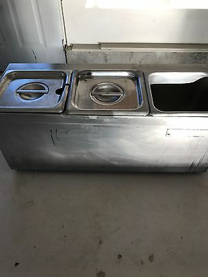 USED ElectrStainless Steel 3 Campartment Food Buffet Server Warmer with 2 Lids