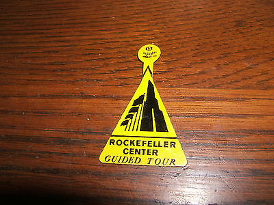 Vintage Rockefeller Center Guided Tour Pin Tag Tab Yellow/Black Badge
