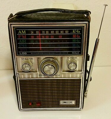 Vintage Commodore Radio AM FM AIR PB WB Weather Case Handle Tested! Rare Colors