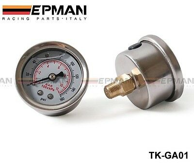 Free Shipping 2PCS Fuel Pressure Gauge 0-160 PSI With Liquid White