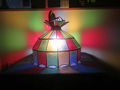 LEADED STAINED  HANGING LIGHT / 16 in. across by 13 in. high. multi colors