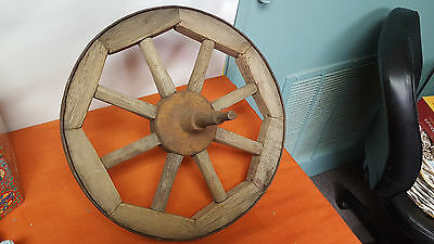 "Wood Spoke Cart Wheel with Metal Hub, Banding, Axle 15.5"" Diameter"