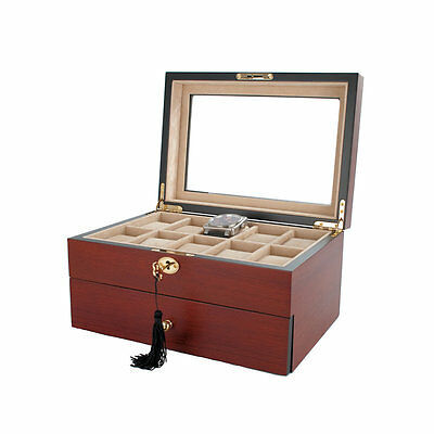 AXIS® Cherry Lockable Gloss Wood 20 Watch Box New wooden