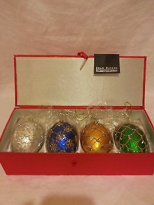 4 Russian Faberge Inspired Egg Christmas Ornaments*2006 Joan Rivers 1st Series