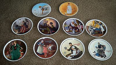 Lot (10) Vintage Norman Rockwell Plates Mothersday & Christmas Plates All Listed
