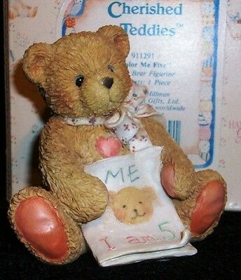 Cherished Teddies COLOR ME FIVE Age 5 Birthday Bear Figurine with Box 1992