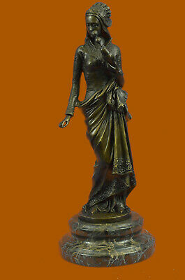 Signed Carrier Figurequisite Maiden Deco Statue Figurine Bronze Sculpture Decor