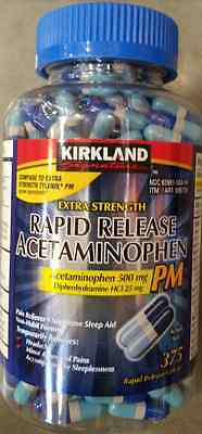 Kirkland Sleep Aid Sleeping Pills 375 ct Rapid Release Acetaminophen PM 500 mg
