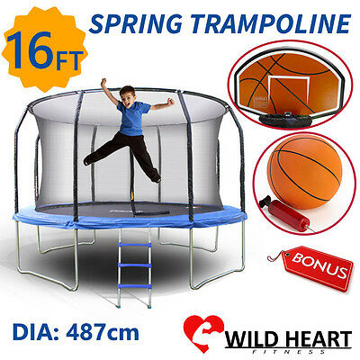 16ft Trampoline Round With Basketball Set Safety Net Spring Pad Ladder Kids Heav