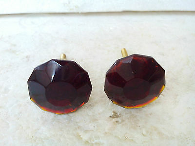Vintage2Brown Glass Cutting Cabinet Knobs Pulls Kitchen Furniture Handle FNE EHS