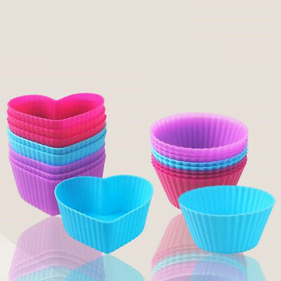 Cake Muffin Molds Candy Cup Silicone Heart Shape Round Icing Baking Mould 4pcs