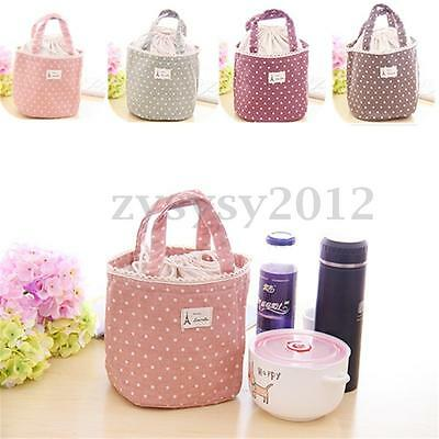 Portable Linen Lace Drawstring  Thermal Insulated Lunch Bag Pouch Storage Box UK