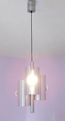 Vintage Italian Mid Century Space Age 3 Light Chandelier in Brushed Aluminium
