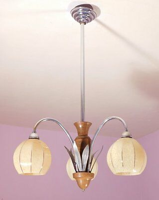 Elegant French Vintage Art Deco 3 Light Chandelier