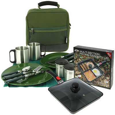 Deluxe Cutlery Carp Fishing Set & Multi Section Cooking Camping Frying Pan Lid