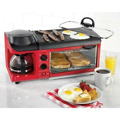 3-in-1 Multi-Function Retro Series 4-Slice Glass Breakfast Station Toaster Red