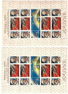 "s12302) GUINEA 1966 MNH** Space ""LUNA X"" S/Sx2 English - French ovptd red"