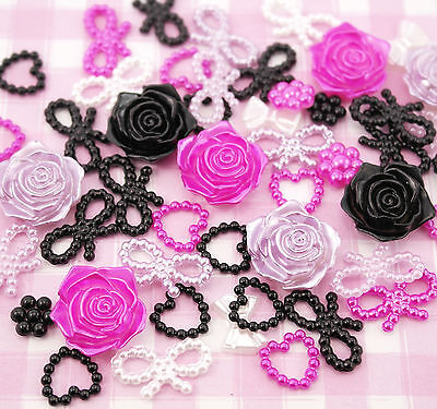 50 x Black & Purple Pearl Shapes Set (Hearts Bows Flowers) Decoden Kawaii
