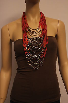 H&M Hals Kette Statement Collier Rot Orange Gold lang Blogger chain red