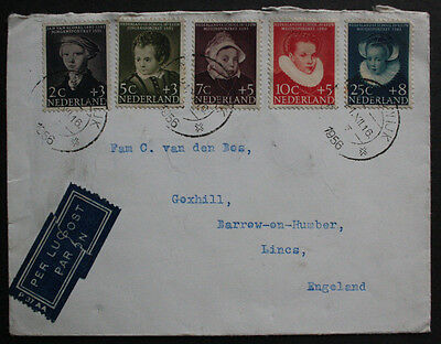 Netherlands 1956 Commercial Cover, Child Welfare Fund Set to Barrow-on-Humber