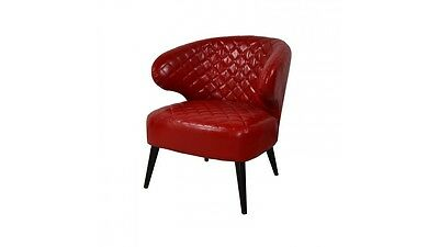 Fauteuil vintage simili cuir rouge Relax