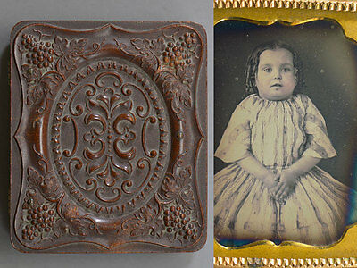 Grape & Vine Thermoplastic Union Case Daguerreotype Young Girl Portrait S Peck