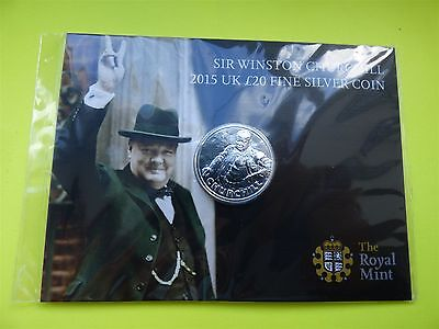 Sir Winston Churchill 2015 UK £20 Fine Silver Coin Sealed Twenty Pounds
